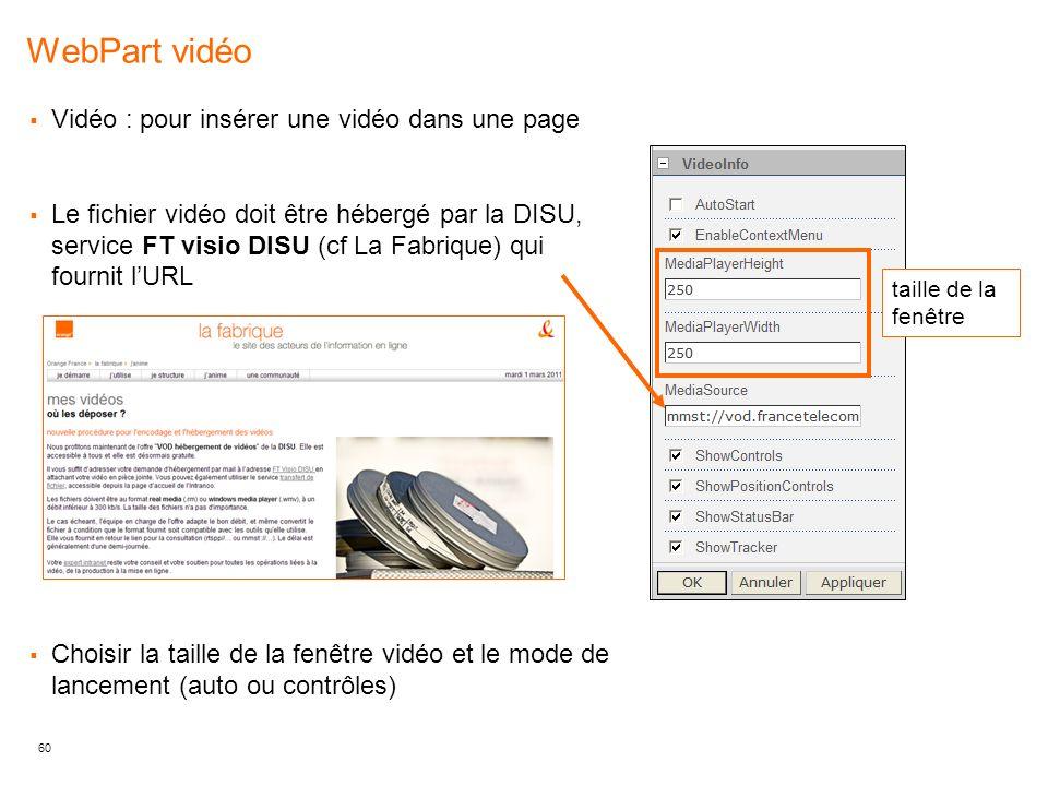 WebPart vidéo Vidéo : pour insérer une vidéo dans une page