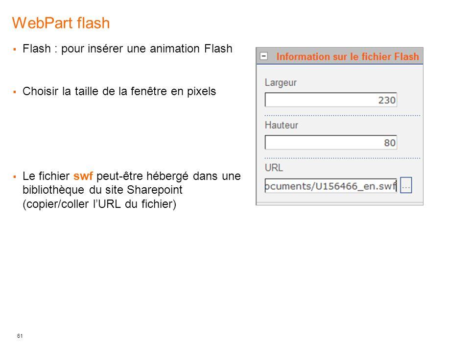 WebPart flash Flash : pour insérer une animation Flash