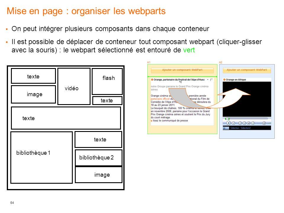 Mise en page : organiser les webparts