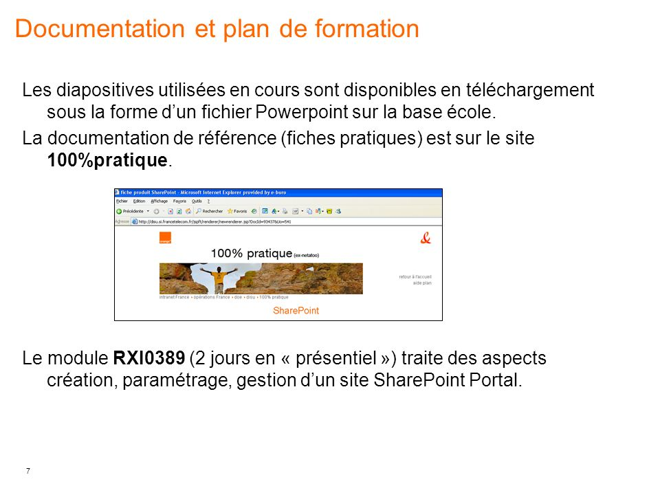 Documentation et plan de formation