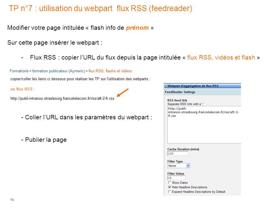 TP n°7 : utilisation du webpart flux RSS (feedreader)