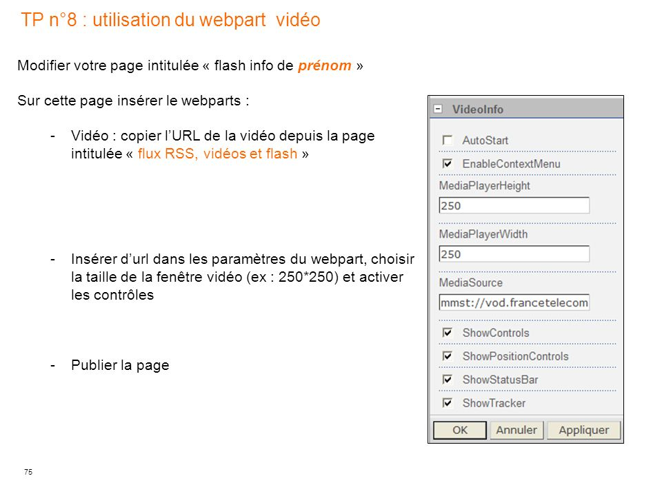 TP n°8 : utilisation du webpart vidéo