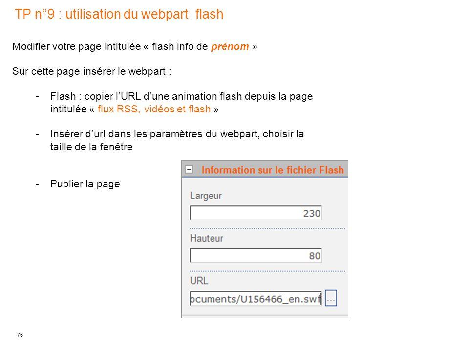 TP n°9 : utilisation du webpart flash