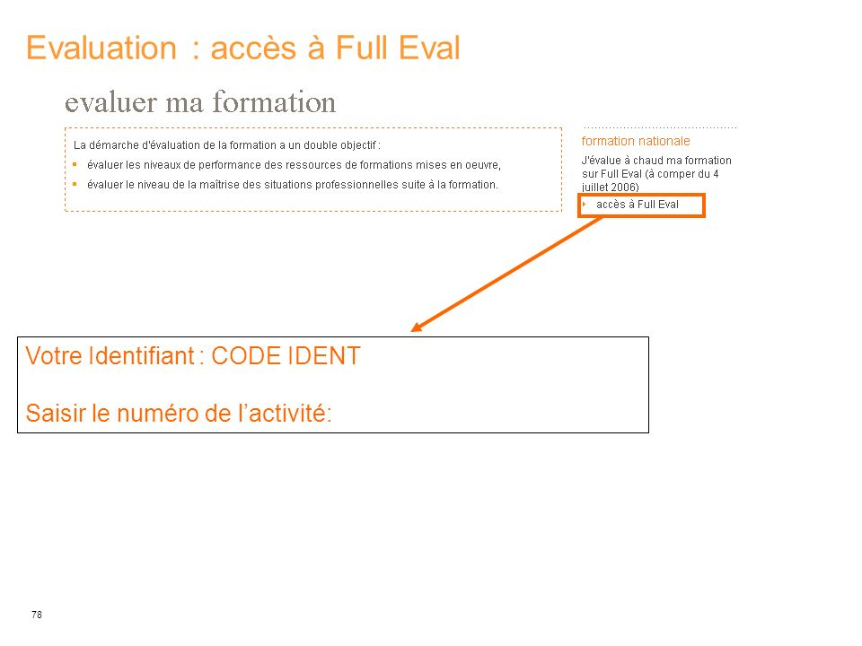 Evaluation : accès à Full Eval