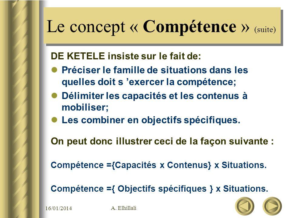 Le concept « Compétence » (suite)