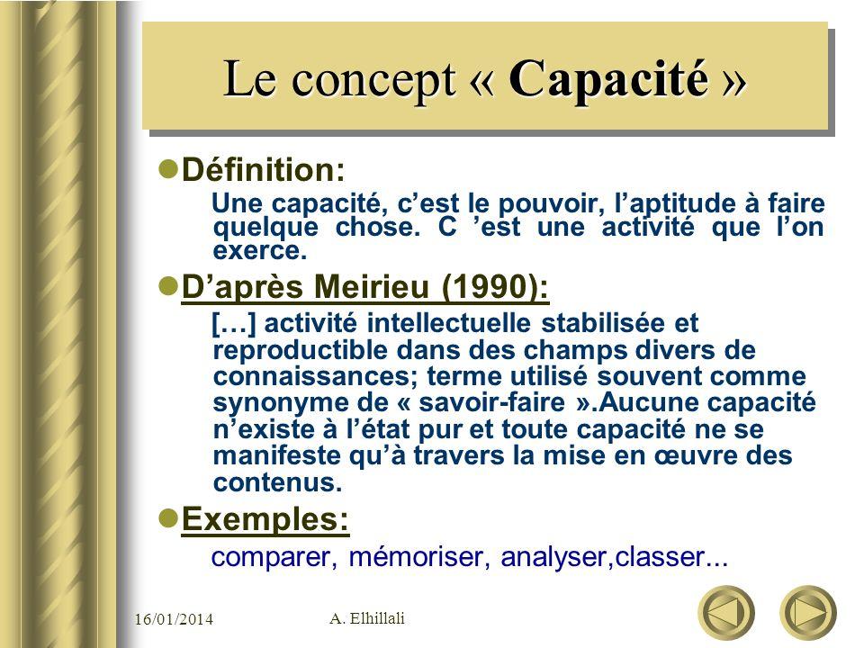 Le concept « Capacité » Définition: D'après Meirieu (1990): Exemples: