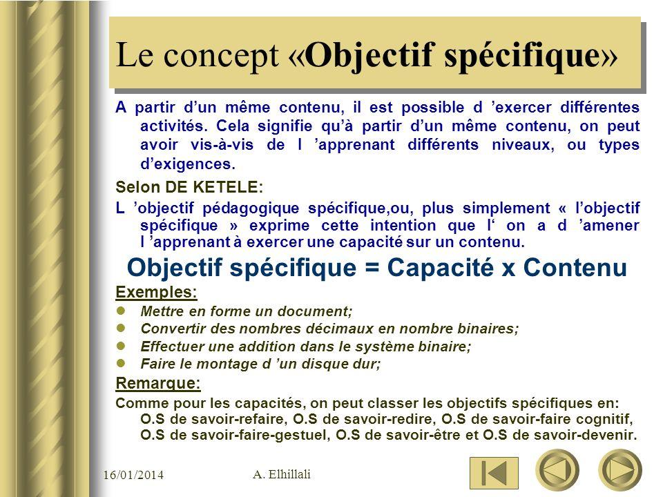 Le concept «Objectif spécifique»