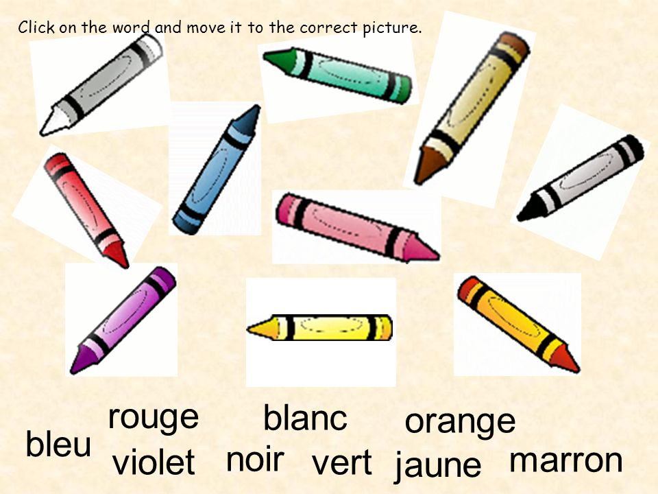 rouge blanc orange bleu violet noir vert marron jaune