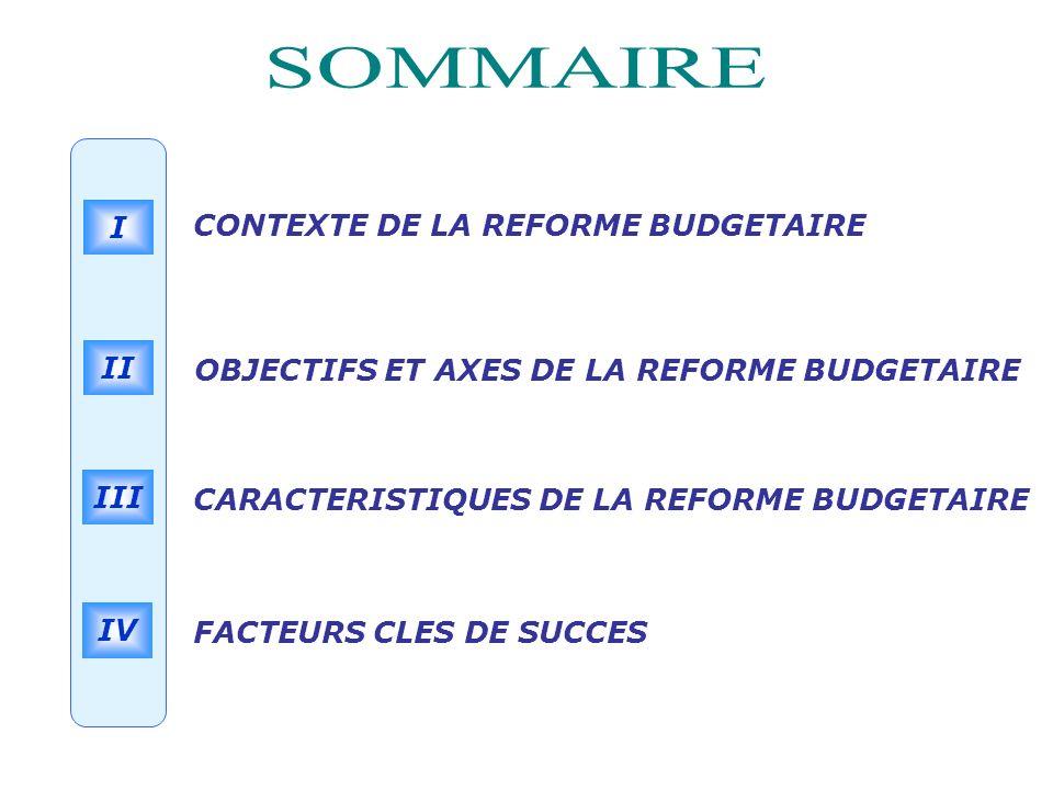 SOMMAIRE CONTEXTE DE LA REFORME BUDGETAIRE I