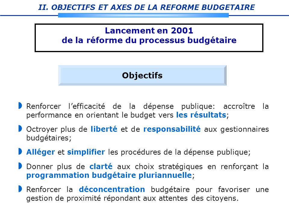 de la réforme du processus budgétaire
