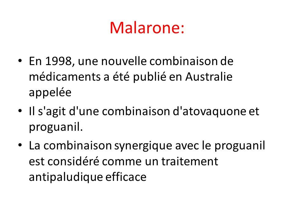 Malarone: En 1998, une nouvelle combinaison de médicaments a été publié en Australie appelée. Il s agit d une combinaison d atovaquone et proguanil.