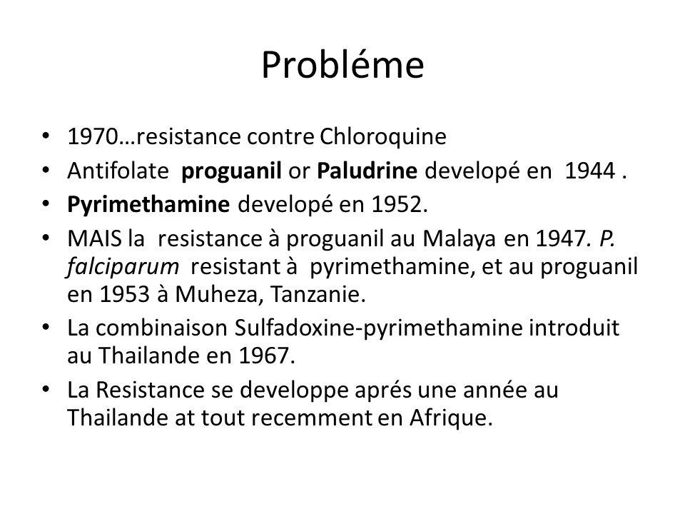 Probléme 1970…resistance contre Chloroquine