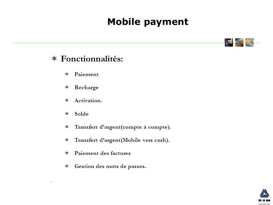 Mobile payment Fonctionnalités: . Paiement Recharge Activation. Solde