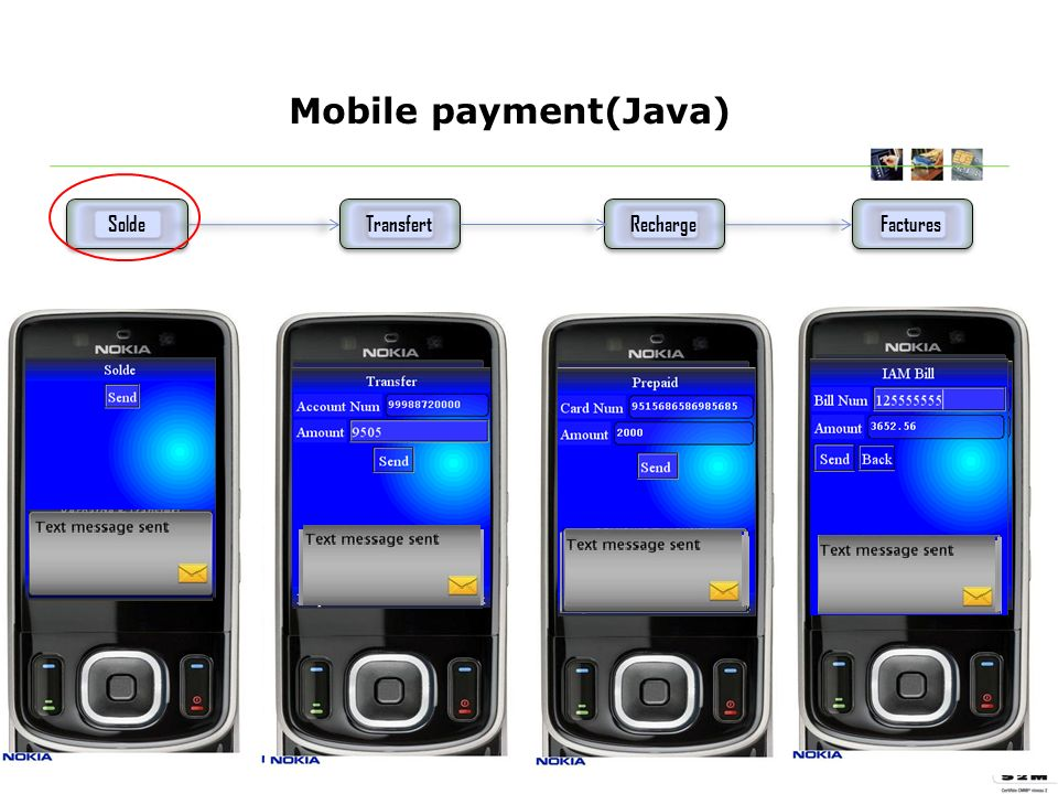 Mobile payment(Java) Solde Transfert Recharge Factures