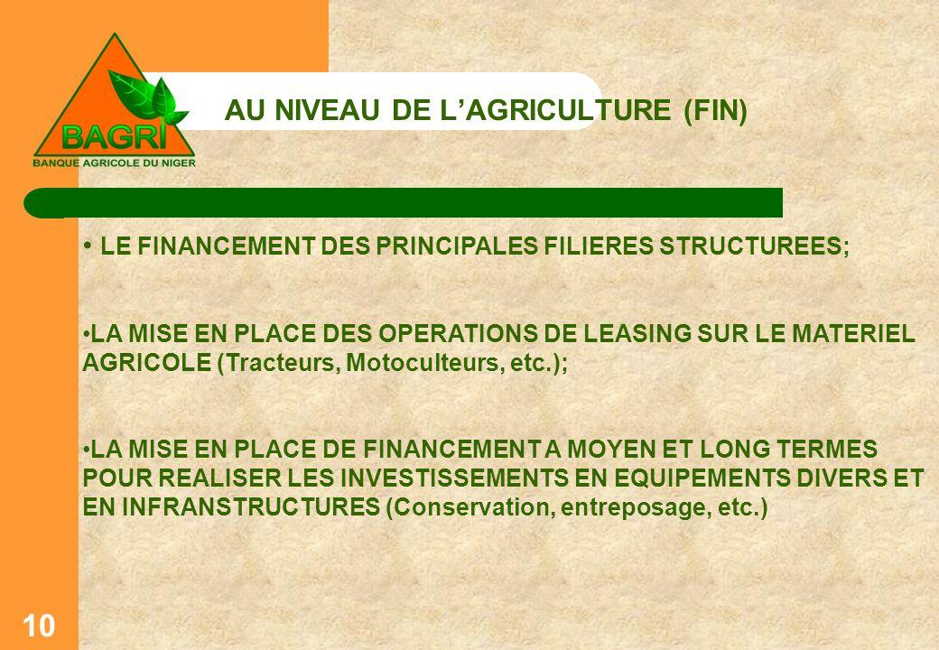 AU NIVEAU DE L'AGRICULTURE (FIN)