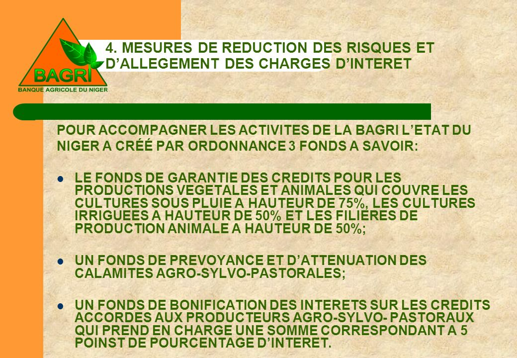 4. MESURES DE REDUCTION DES RISQUES ET D'ALLEGEMENT DES CHARGES D'INTERET