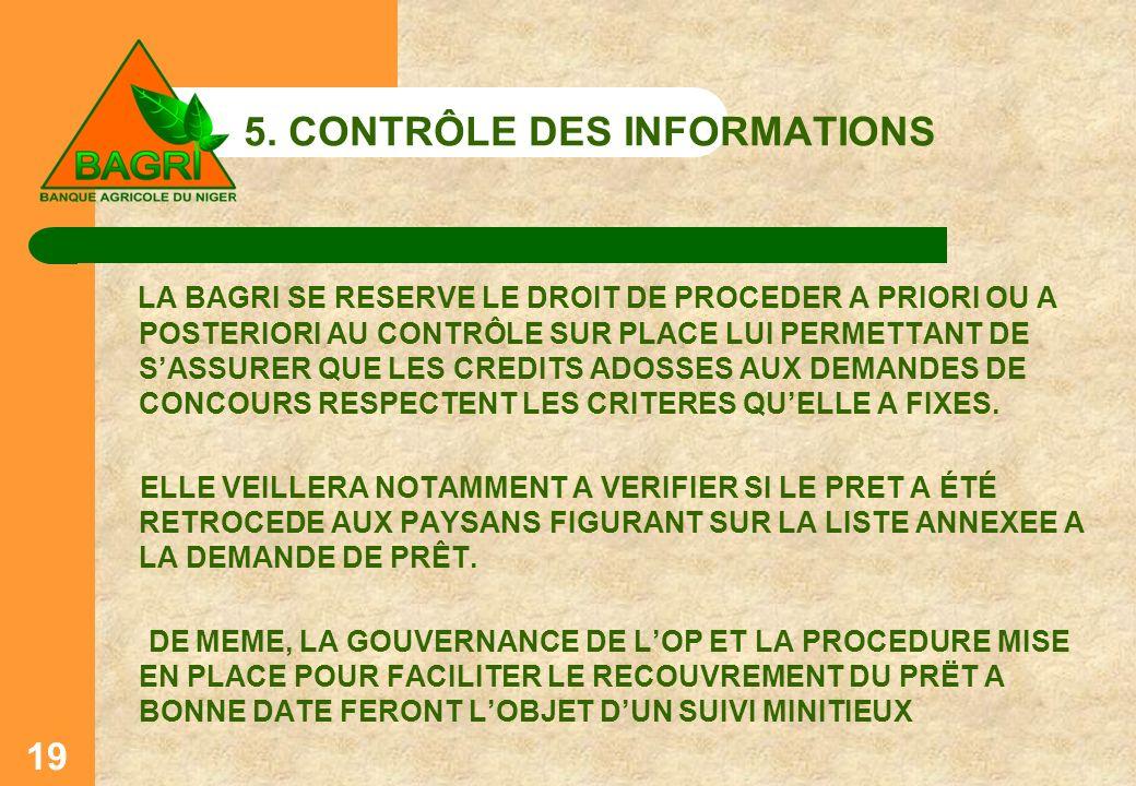 5. CONTRÔLE DES INFORMATIONS