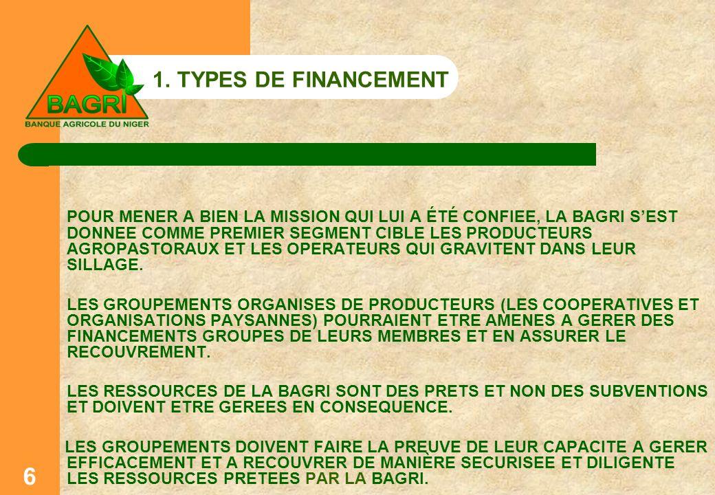 1. TYPES DE FINANCEMENT