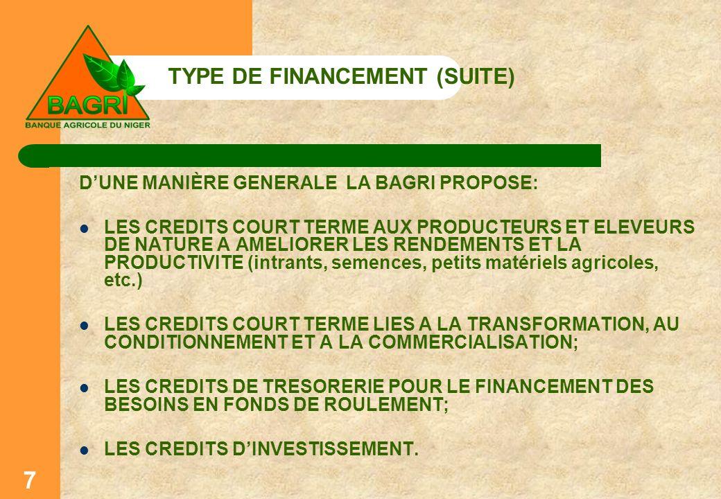 TYPE DE FINANCEMENT (SUITE)