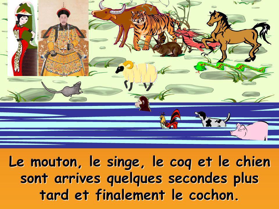 Le mouton, le singe, le coq et le chien sont arrives quelques secondes plus tard et finalement le cochon.
