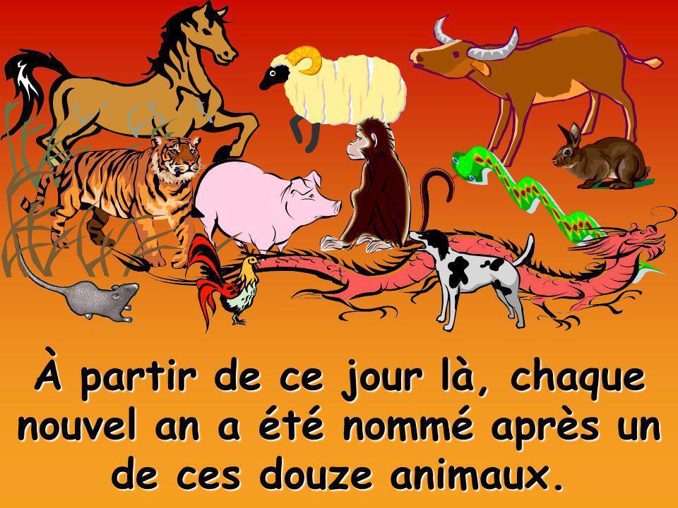 À partir de ce jour là, chaque nouvel an a été nommé après un de ces douze animaux.
