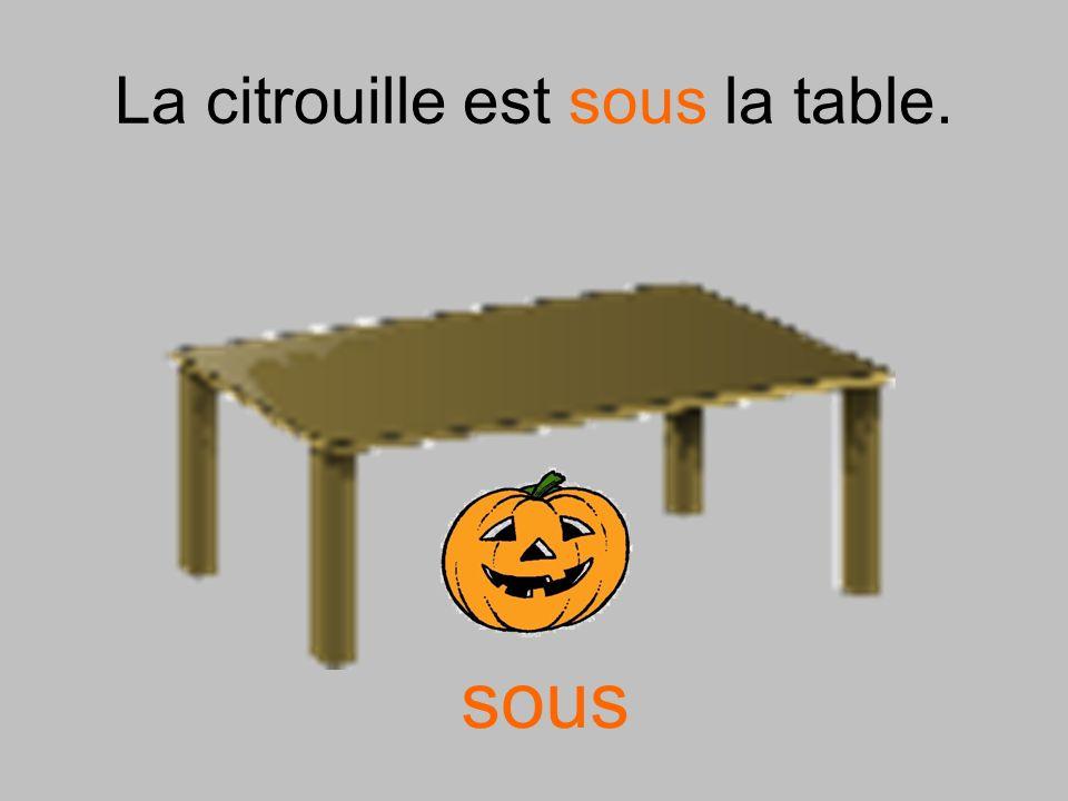 La citrouille est sous la table.
