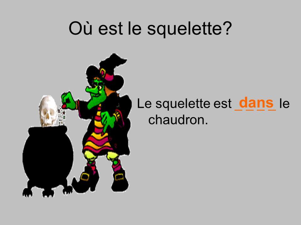 Où est le squelette dans Le squelette est _ _ _ _ le chaudron.
