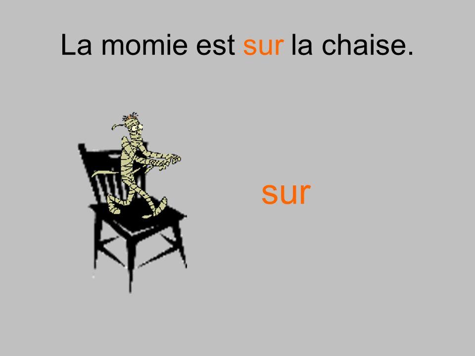 La momie est sur la chaise.