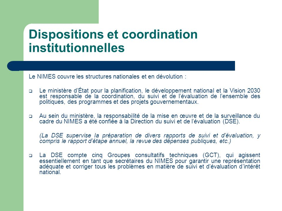 Dispositions et coordination institutionnelles