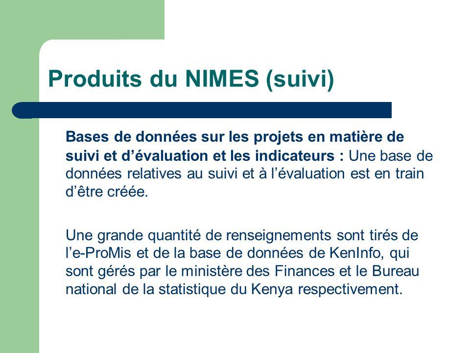 Produits du NIMES (suivi)