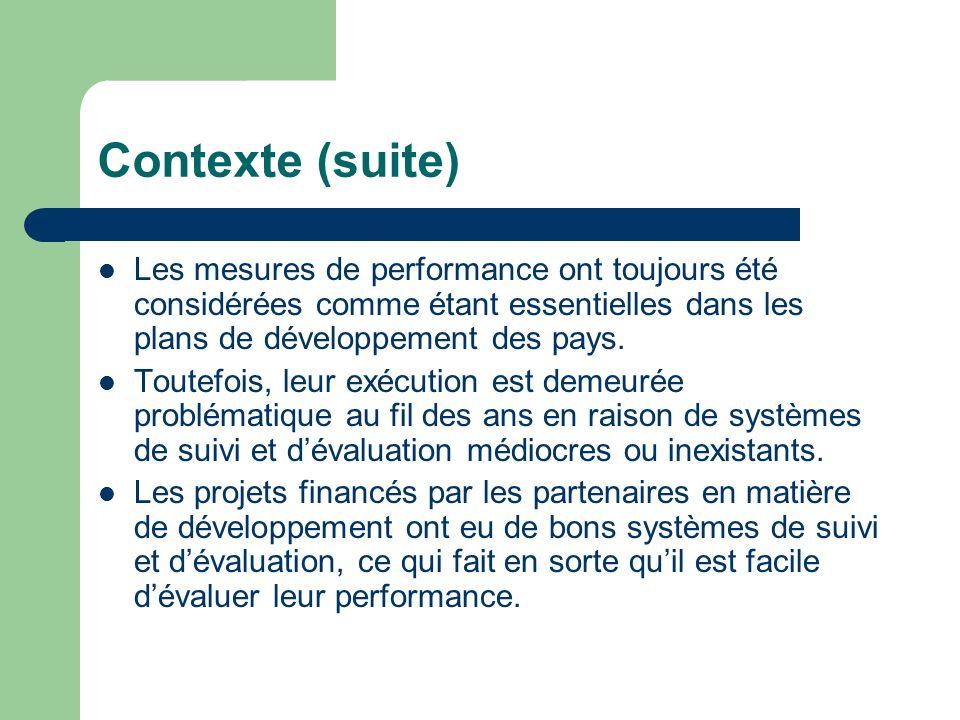 Contexte (suite) Les mesures de performance ont toujours été considérées comme étant essentielles dans les plans de développement des pays.