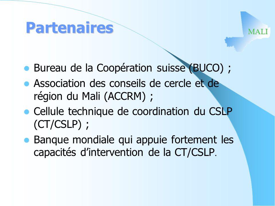 Partenaires Bureau de la Coopération suisse (BUCO) ;