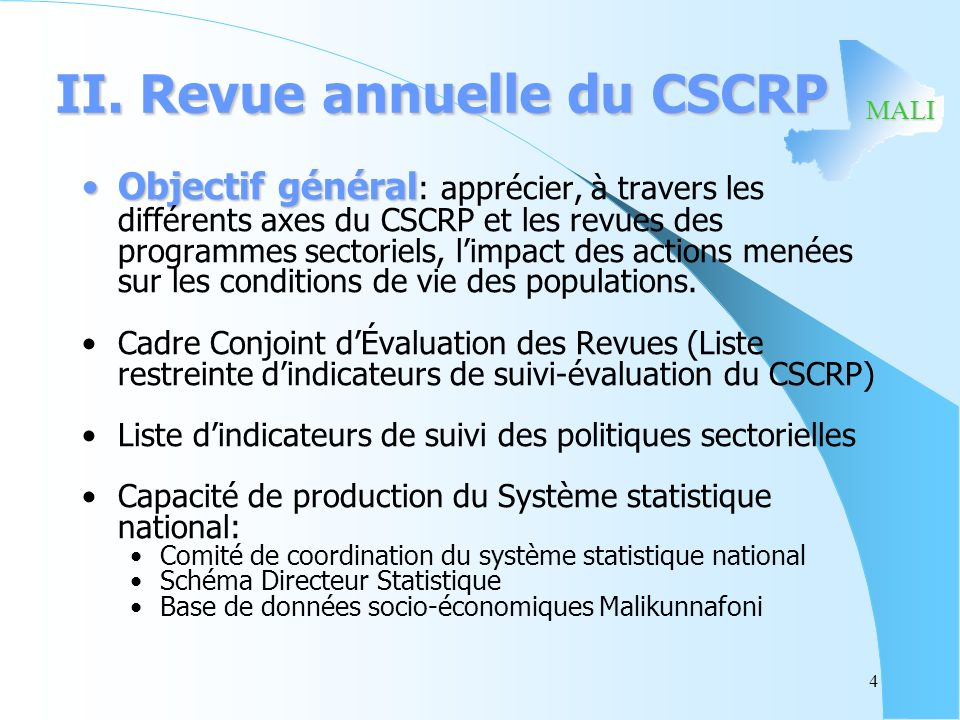 II. Revue annuelle du CSCRP