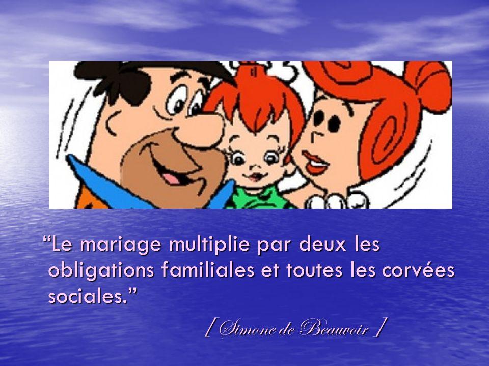 Le mariage multiplie par deux les obligations familiales et toutes les corvées sociales.