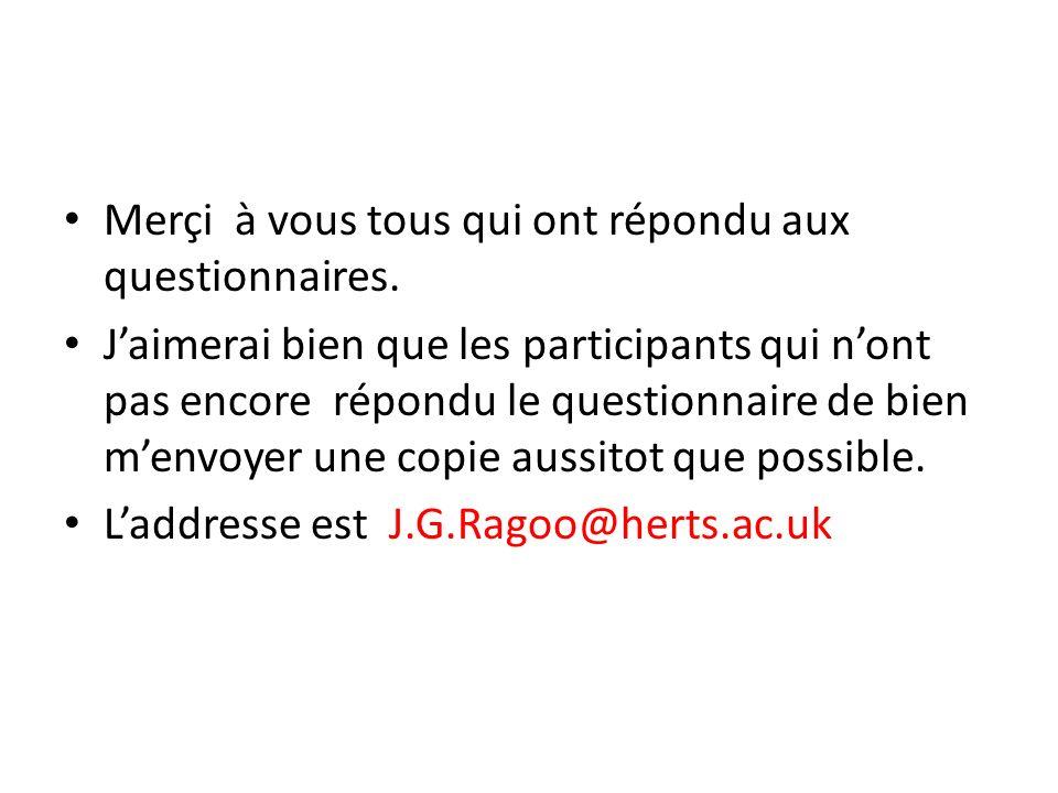 Merçi à vous tous qui ont répondu aux questionnaires.