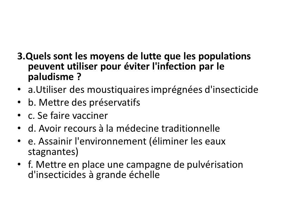 3.Quels sont les moyens de lutte que les populations peuvent utiliser pour éviter l infection par le paludisme