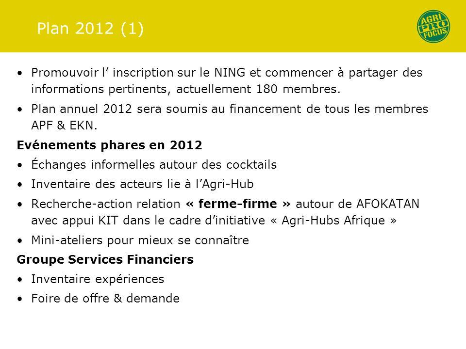 Plan 2012 (1) Promouvoir l' inscription sur le NING et commencer à partager des informations pertinents, actuellement 180 membres.
