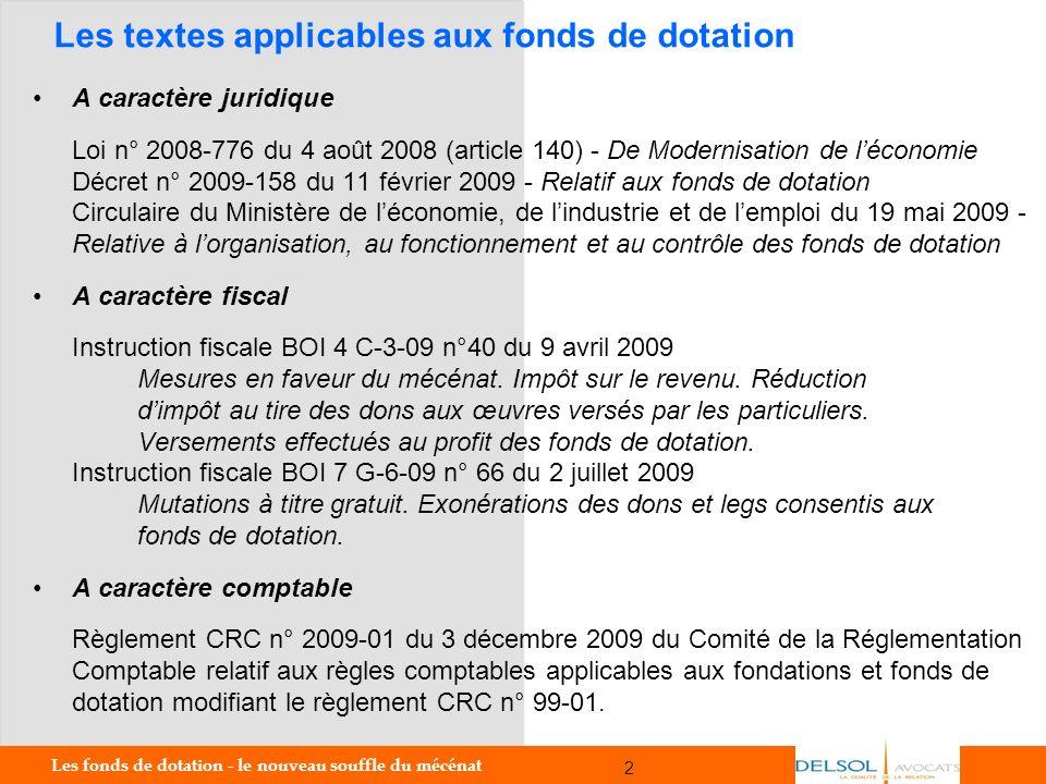 Les textes applicables aux fonds de dotation