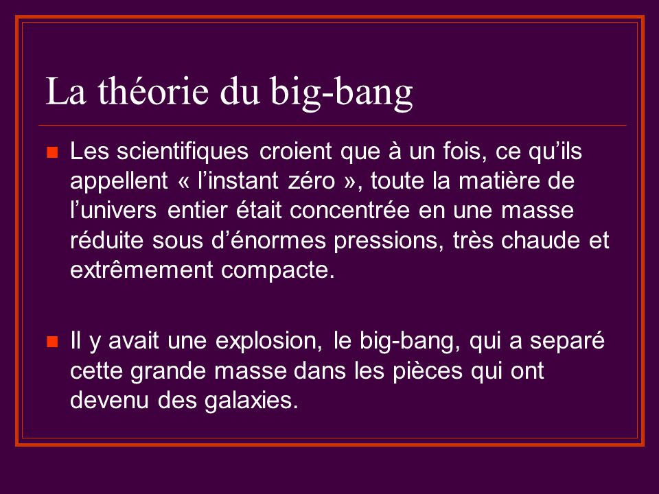 La théorie du big-bang