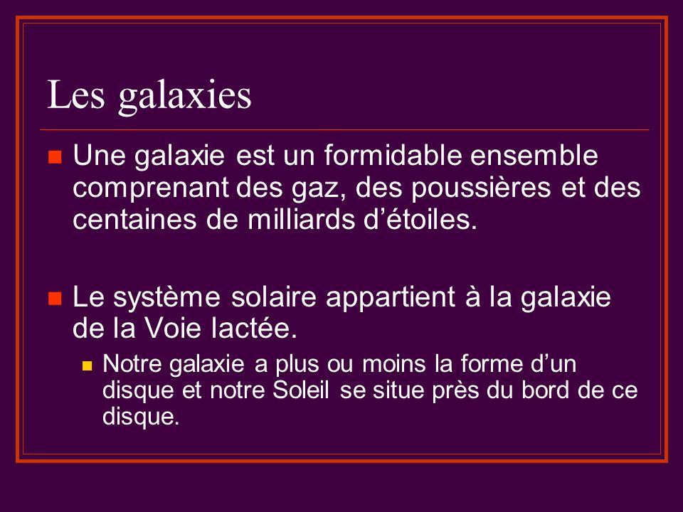 Les galaxies Une galaxie est un formidable ensemble comprenant des gaz, des poussières et des centaines de milliards d'étoiles.