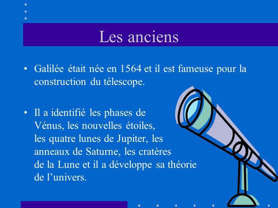 Les anciens Galilée était née en 1564 et il est fameuse pour la construction du télescope.