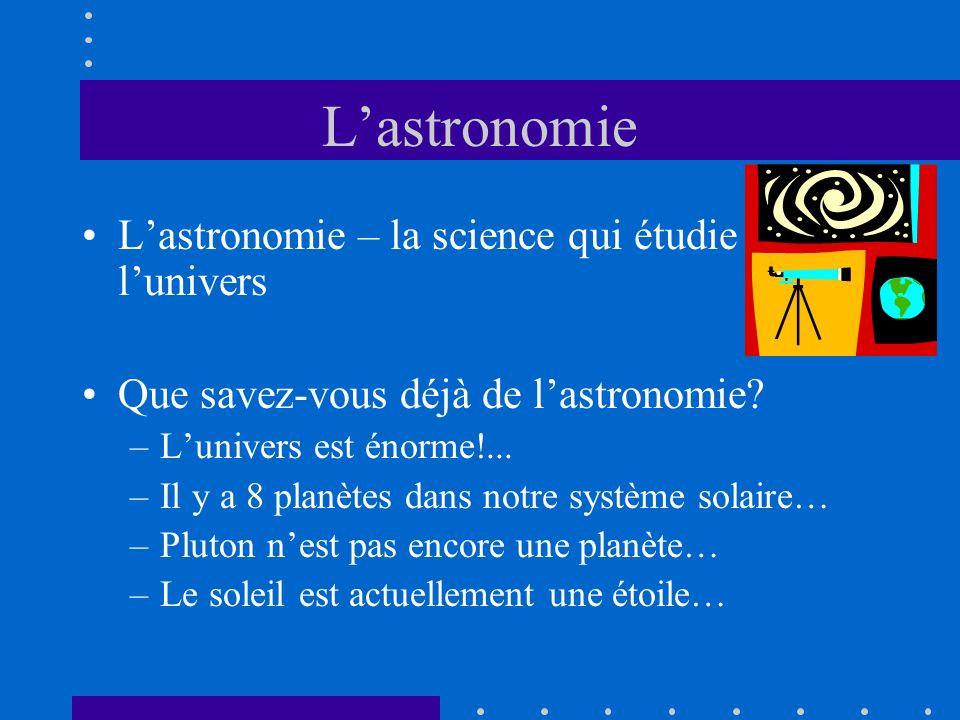 L'astronomie L'astronomie – la science qui étudie l'univers