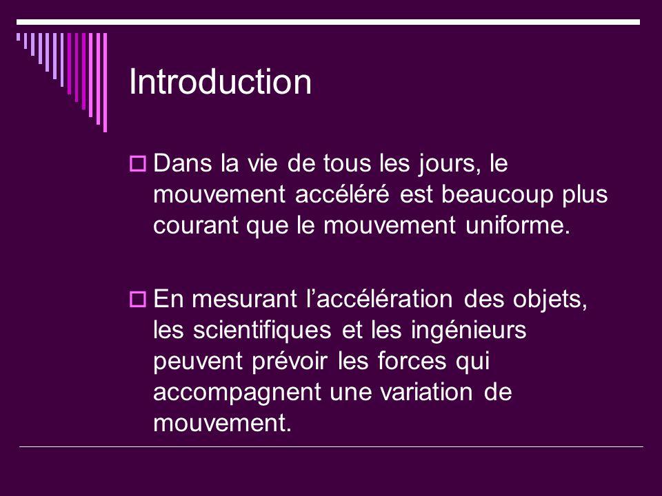 IntroductionDans la vie de tous les jours, le mouvement accéléré est beaucoup plus courant que le mouvement uniforme.