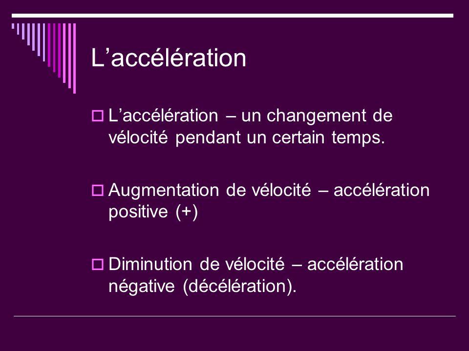 L'accélération L'accélération – un changement de vélocité pendant un certain temps. Augmentation de vélocité – accélération positive (+)
