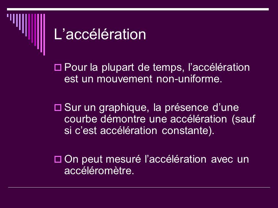 L'accélération Pour la plupart de temps, l'accélération est un mouvement non-uniforme.