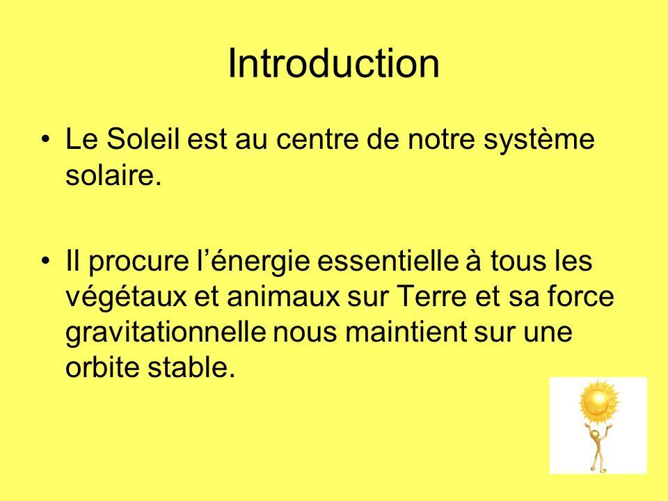 Introduction Le Soleil est au centre de notre système solaire.