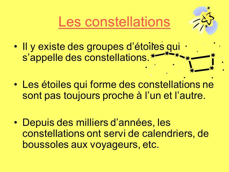 Les constellations Il y existe des groupes d'étoiles qui s'appelle des constellations.