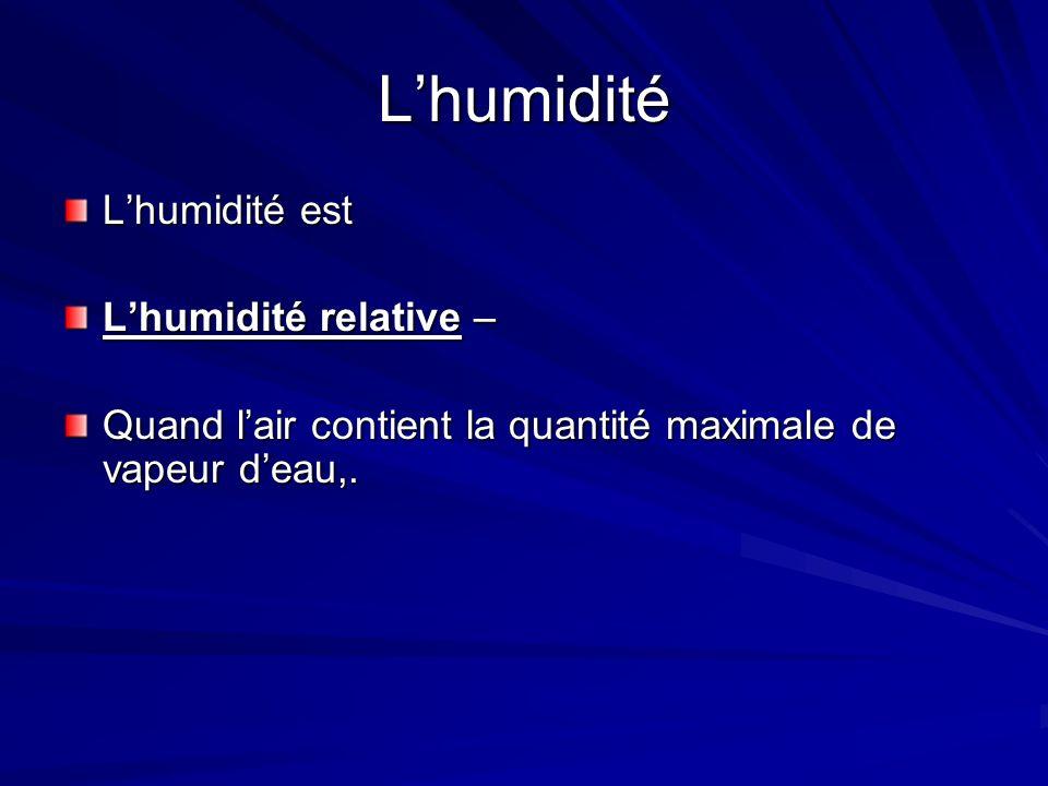 L'humidité L'humidité est L'humidité relative –