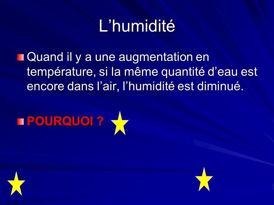 L'humidité Quand il y a une augmentation en température, si la même quantité d'eau est encore dans l'air, l'humidité est diminué.
