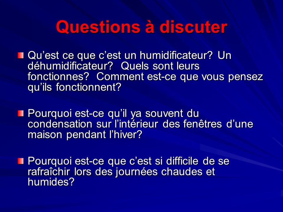 Questions à discuter